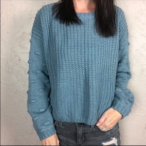 NWT Moon & Madison Bobble Sleeve Sweater Blue